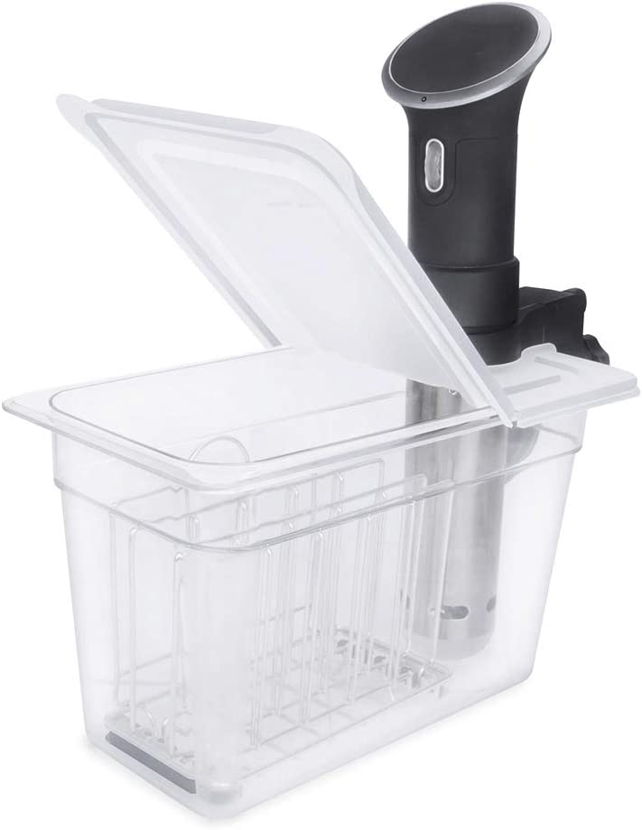 EVERIE Sous Vide Container 7 Quart with Collapsible Hinge Lid and Sous Vide Rack for Anova Bluetooth or WiFi Models or New Model AN500-US00, Anova Cooker Not Included
