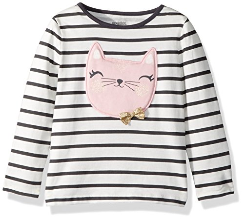 2t Girl Gymboree - Gymboree Girls' Toddler Long Sleeve Graphic Tee, White/Black Stripe, 2T