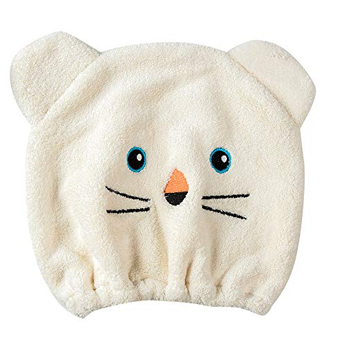 Hair Drying Towel for Kids Girls, Iuhan Cute Cartoon Cat Absorbent Coral Velvet Children Dry Hair Hat Fast Drying Shower Head Towel Wrap Bathing Spa Swimming Turban Hat Dry Cap Towels Gift (Beige)