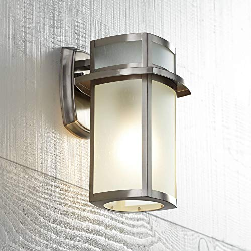 "Delevan Modern Outdoor Wall Light Fixture Brushed Nickel 11 1/4"" Frosted Seedy Glass Damp Rated for Exterior House Porch Patio Protected Walkway - Possini Euro Design"