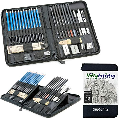 (Drawing and Sketching Pencil Set in Zippered Carrying Case - The Essential Artist Supplies in a Compact, Protective, and Travel-Friendly 40-Piece Kit with Eraser, Pastels, Graphite and Charcoal)