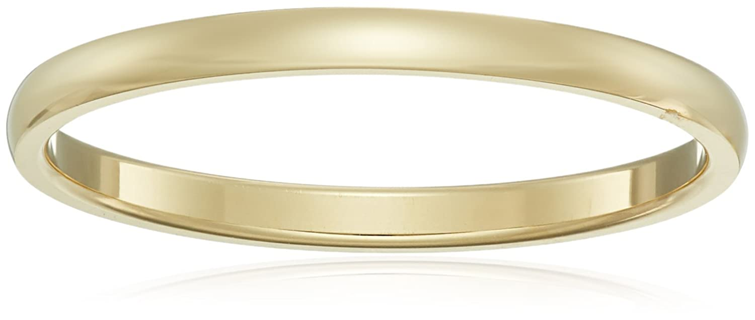 Women's 14k White Gold 2mm Traditional Plain Wedding Band Amazon Collection