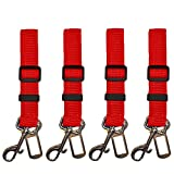 4-Pack Universal Dog Leash Car Seatbelt Adapter Extender, Adjustable Safety Restraint for Travel with your Dog Pet (Red)