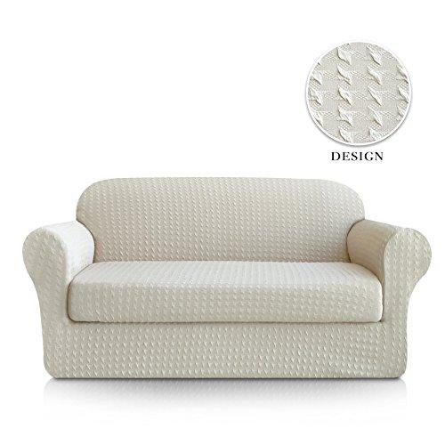 Subrtex 2-Piece Print Jacquard Spandex Fabric Stretch Sofa Slipcovers (Sofa, White)