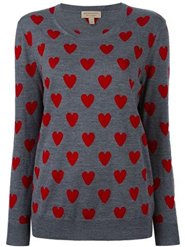 BURBERRY LONDON - Sueter / Jersey de Punto para Mujer 100% Lana Merino OYKHEL gris