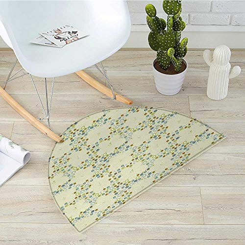 Blush Medallion (Flower Semicircular CushionOrnament of Medallion Shapes Bordered with Small Wildflowers Pattern Print Entry Door Mat H 35.4