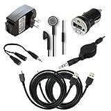 7 pc Fenzer Black Bundle Kit for Garmin StreetPilot c580 i2 i3 i5 Zumo 660 Travel Car Wall Charger USB Data Cable GPS