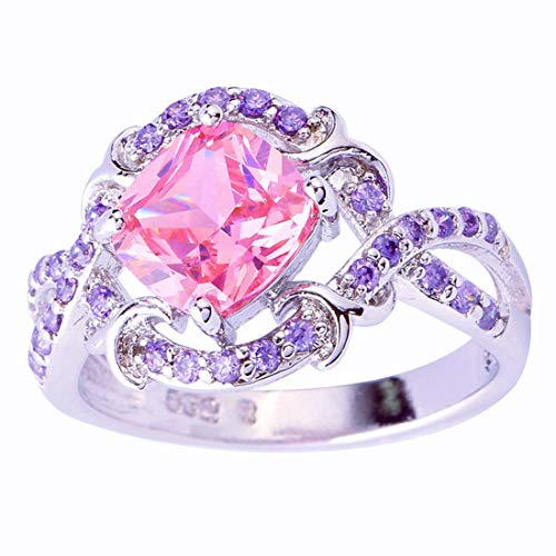 Humasol 925 Sterling Silver Filled Cushion Cut Lab-Created Pink Topaz Promise Band Engagement Ring for - Nine Tiara Light Crystal