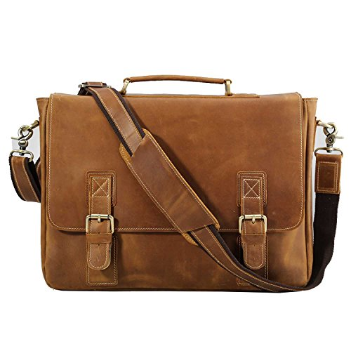 Polare Vintage Genuine Leather Tote Briefcase Professional 16'' Laptop Shoulder Messenger Bag (Light Brown) by Polare