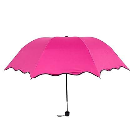 Vosarea Compact Travel Umbrella Sun and Rain Folding Umbrella with Thickened Fabric and 8 Ribs(Rosy)