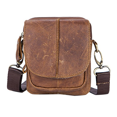Zhhlaixing Mens Mans Father Adjustable Leather Mini Travel Sports Crossbody Shoulder Bag Bolsa de hombro Messenger Briefcase Christmas Gifts Beige
