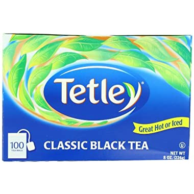 Tetley Black Tea, Classic Blend, 100-Count Tea Bags, 8 Ounce, (Pack of 6)