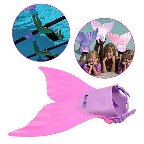 inkint Bezaubernd Angenehm Violett + Rosa Schwimmflossen Schuhe Wie Eine Meerjungfrau für Der Kinder Zum Schwimmen/Tauchen/Spielen