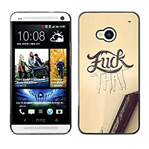 Shell-Star Arte & diseño plástico duro Fundas Cover Cubre Hard Case Cover para HTC One M7 ( F That Text Yellow Pencil Sketch Word )
