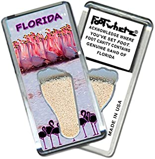 "product image for Florida ""FootWhere"" Souvenir Fridge Magnet. Made in USA (FL205 - Flamingos)"