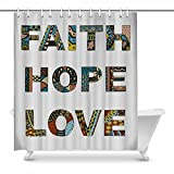 InterestPrint Christian Bible Faith Hope Love Zentangle Tribal Design House Decor Shower Curtain for Bathroom Decorative Bathroom Shower Curtain Set with Rings, 72(Wide) x 84(Height) Inches