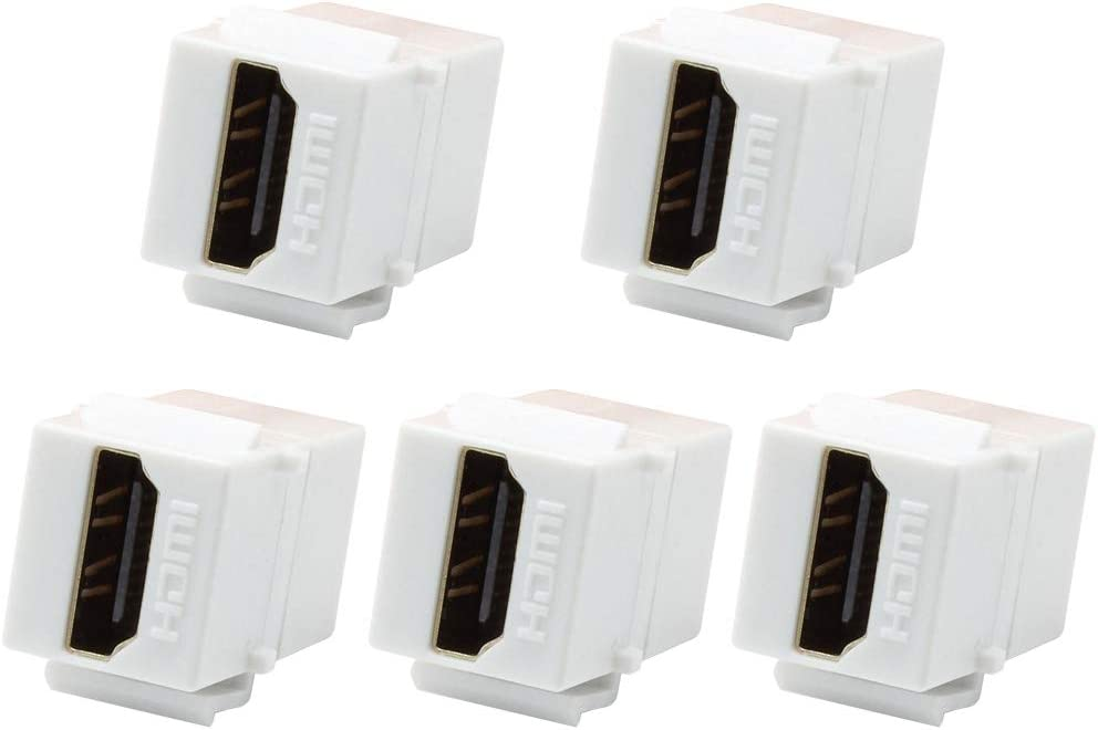 VICTEK 5-Pack HDMI Keystone Female to Female Coupler Snap-in for Wall Plate - White …