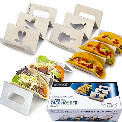 (Taco Holders Stainless Steel - Taco Rack Set of 4 - Taco Stand Dishwasher & Oven Safe - Taco Serving Tray)