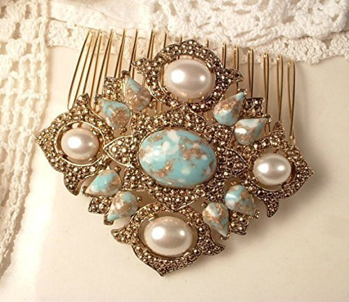 Art Deco Turquoise Blue & Ivory Pearl Bridal Hair Comb, 1920s Aqua Rose Gold Vintage Wedding Hair Accessory