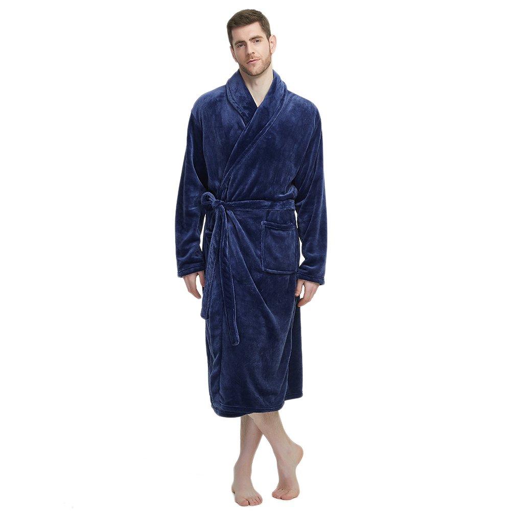 U2SKIIN Mens Fleece Robe Plush Collar Shawl Bathrobe(Navy,L/XL)