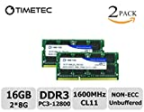 Image of Timetec Hynix IC 16GB Kit(2x8GB) DDR3 1600MHz PC3-12800 Non ECC Unbuffered 1.35V CL11 2Rx8 Dual Rank 204 Pin SODIMM Laptop Notebook Computer Memory Ram Module Upgrade(16GB Kit(2x8GB))