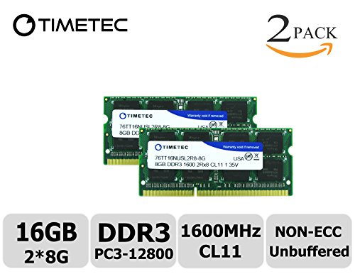 Timetec Hynix IC 16GB Kit(2x8GB) DDR3 1600MHz PC3-12800 Non ECC Unbuffered 1.35V CL11 2Rx8 Dual Rank 204 Pin SODIMM Laptop Notebook Computer Memory Ram Module Upgrade(16GB Kit(2x8GB)) - Ram & Memory Upgrades