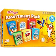 Kellogg's Breakfast Cereal, Assortment Pack, Frosted Flakes, Frosted Mini-Wheats, Froot Loops, Apple Jacks, Corn Pops, and Rice Krispies, 32.7 oz Tray (30 Count)