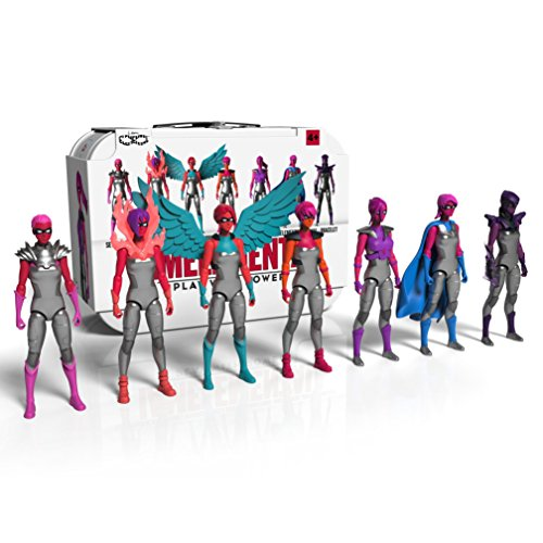 IAmElemental Series1/Courage: Complete Set of Seven Female Action Figures with Lunch Box Carry Case