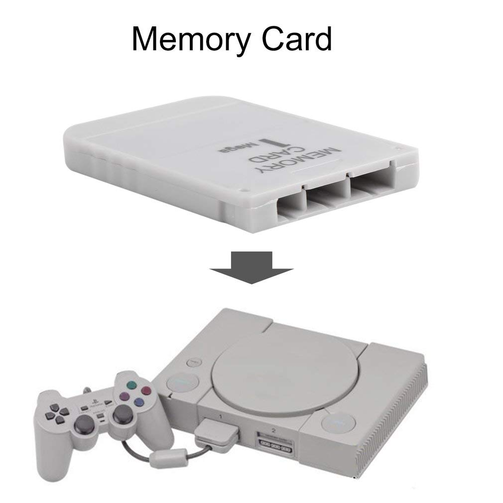 FairytaleMM Tarjeta de Memoria PS1 1 Mega Memory Card para Playstation 1 One PS1 PSX Game Useful (Color: White)