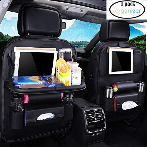 K&K Pu Leather Car Back Seat Organizer -Adjustable Multipurpose Use as Auto Seat Back Protector - Kids Toy Storage, Back Seat Protector/Kick Mat/Car Organizer Foldable Dining Table Holder