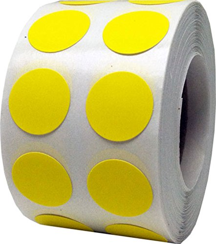 Hot Yellow Color Coding Labels for Organizing Inventory 0.50 Inch Round Circle Dots 1,000 Total Adhesive Stickers On A Roll