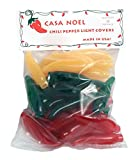 Red, Green, and Yellow Chili Pepper Christmas Light Covers Set of 35 - Fit Over Mini Christmas Lights - Great for International Use