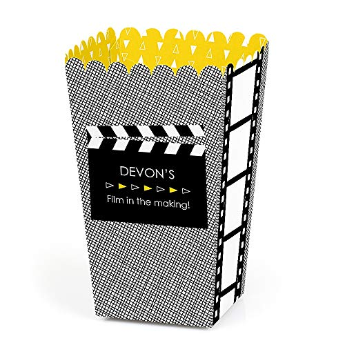 Personalized Movie - Custom Hollywood Party Favor Popcorn Treat Boxes - Set of 12 -