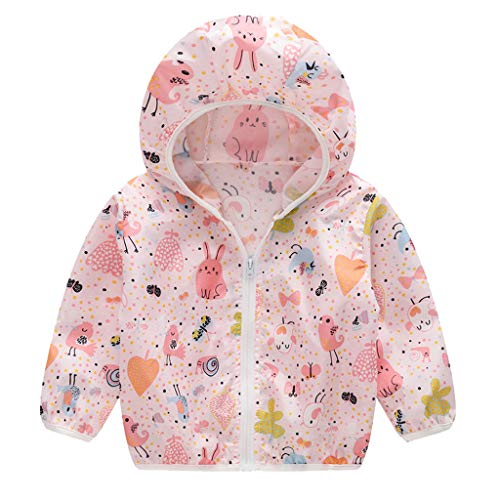 Tantisy ♣↭♣ Kids Girls Boys Summer Hooded Sunscreen Jackets Cartoon Print Summer Outdoor Travel Coat Age 18M-5Y Pink