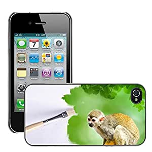 Super Stellar Slim PC Hard Case Cover Skin Armor Shell Protection // M00127224 Paintbrush Outdoor Monkey Animals // Apple iPhone 4 4S 4G