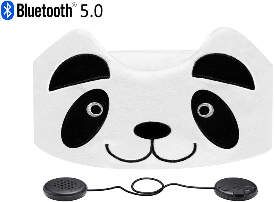 Kids Headphones, Azzker Wireless Bluetooth V5.0 Hands-Free Soft Headband with Ultra-Thin Speakers and Mic Children s Earphones for Girls Boys, School, Calls, Home and Travel-Panda