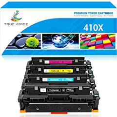 True Image Compatible Toner Cartridge Replacement for HP 410X CF410X CF410A M477fnw Toner HP LaserJet Pro MFP M477fnw M477fdw M477fdn M452dn M452nw M452dw M377dw M477 CF411X CF412X CF413X Printer Ink