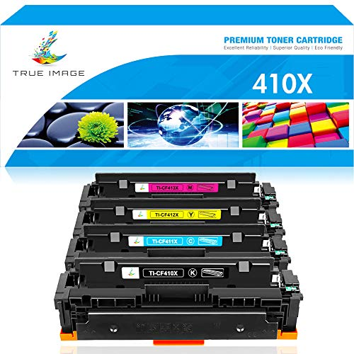 True Image Compatible Toner Cartridge Replacement for HP 410X CF410X M477fnw Color Laserjet Pro MFP M477fdw M477fdn M477 M452dn M452nw M452dw M452 M377dw Printer (Black Cyan Yellow Magenta