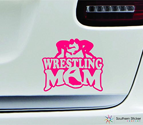Wrestling mom player 3.9x4.5 pink family grappling uniform sport combat united states america color sticker state decal vinyl - Made and Shipped in USA