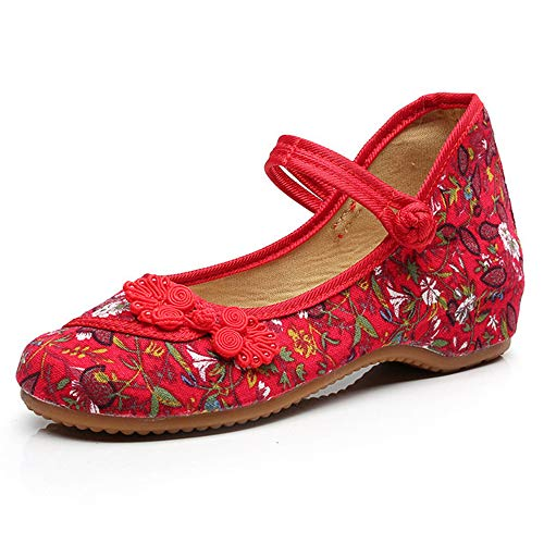 Knotting Shoes Casual Sole Jane Stamp Mary Canvas Small Chinese Women Fowers Shoes Flats Red Soft xw8g10wnqB