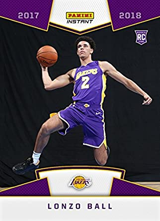 f0b4a09e1a0 Amazon.com  2017-18 Panini Instant NBA Basketball  5 Lonzo Ball Rookie Card  - 1st Card in a Los Angeles Lakers Uniform - Only 3