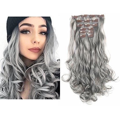 "SARLA 20"" 7Pcs Full Head Wavy Clip In Gray Hair Extensions Synthetic Heat-Friendly Fiber HairPiece 999#171 ..."
