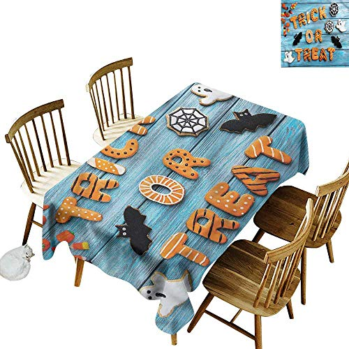 TimBeve Tablecloth for Kids/Childrens Vintage Halloween Ghost Bat Web Fashions Rectangular 60