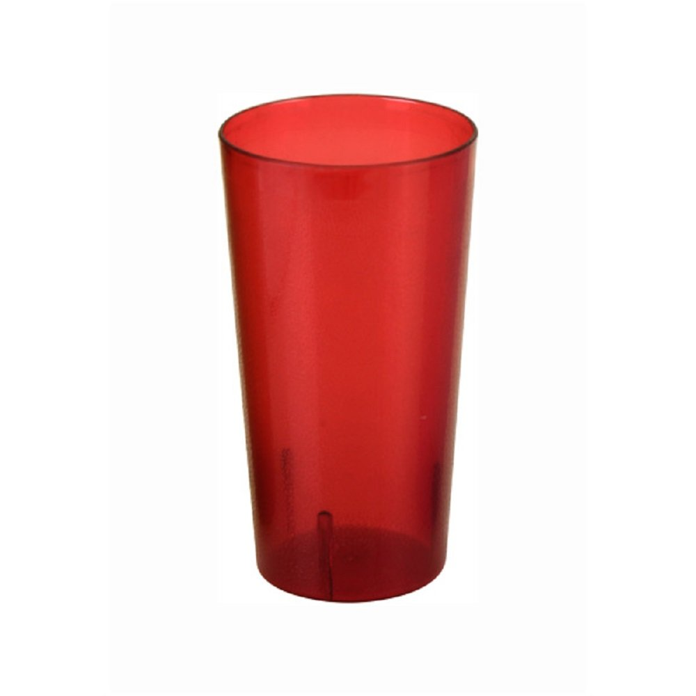 SET OF 12 CUPS 32 OZ TALL TUMBLER, POLYCARBONATE CUP RED UNBREAKABLE BAR SAFE DURABLE RELIABLE RESTAURANT DINER BAR GLASS