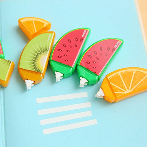 MAZIMARK-3pcs Cute Plastic Fruit Correction Tape kids Students School Supplies Stationery