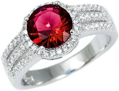 Sterling Silver Halo Simulated Ruby Gemstone Ring Sizes 5-10