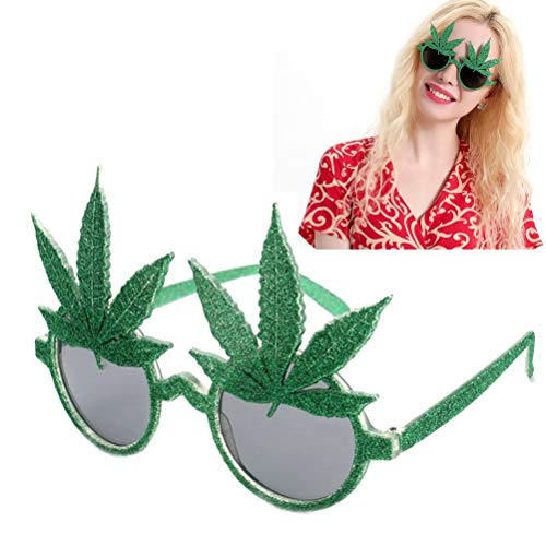 Party Favors - Green Shiny Maple Leaf Glasses Costume Mask Props Party Favors Event Eyewear Festive Decoration - Notebooks Crayons Ring Princess Hair Elmo Assortment Party Space Slap Outer ()