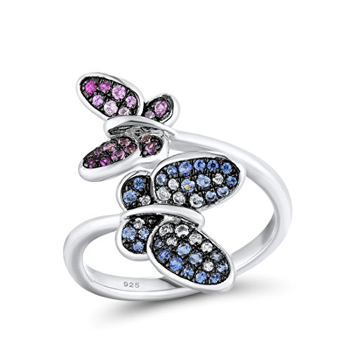 Blue Sapphire Butterfly Ring - Santuzza 925 Silver Twins Butterfly Ring Blue Spinel Created Pink Sapphire and Ruby Stone (Rhodium-Plated-Silver, 7)