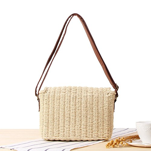 Handbag Beige Bag Flap Beach Holiday Woven Bags Shoulder Cross Womens Rattan Casual Summer Bag Body Oqd6Hwn