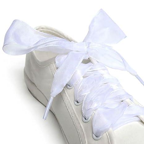tienda de liquidación 43bc6 fd3b1 AchidistviQ - Cordones para Zapatos, 1 par, 110 cm, Cinta de Organza,  Zapatillas Deportivas, Lazo, Cordones Planos Blanco Blanco